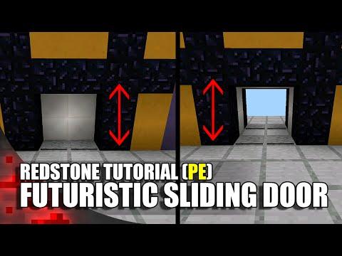 Minecraft PE Redstone: Futuristic Sliding Door!