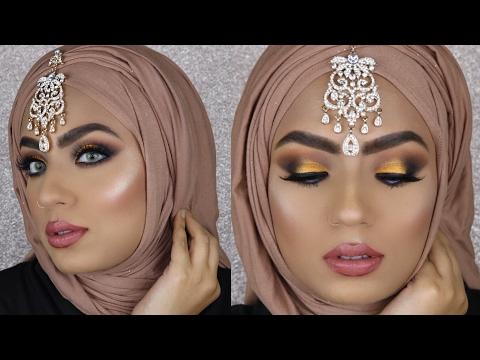 EID LOOK PAKISTANI ARABIC MAKEUP TUTORIAL ~~ GOLD SMOKEY EYES