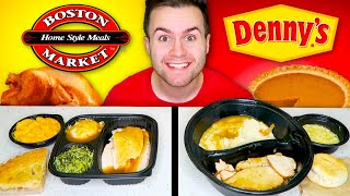 DENNY'S vs. BOSTON MARKET! Thanksgiving Edition! - Restaurant Taste Test!
