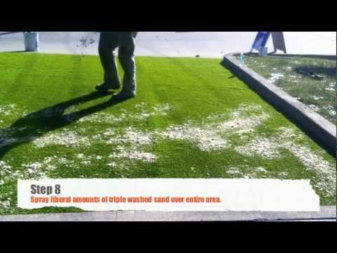 DIY artificial grass installation on concrete