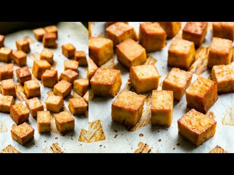 Crispy Baked Oil-Free Tofu Recipe   Two Ingredients!