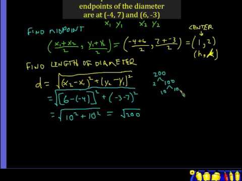 CIrcles 5 - Writing the equation given the endpoints of a diameter