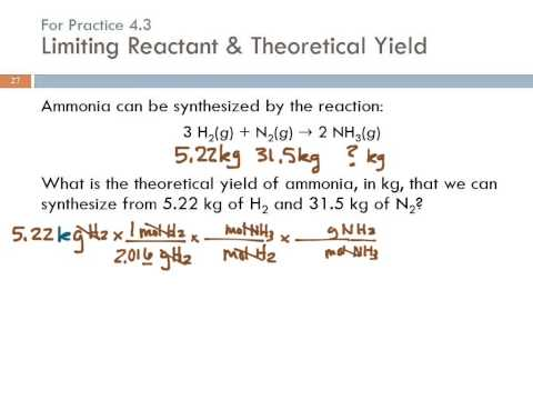 4.3 Limiting Reactant, Theoretical Yield, & Percent Yield