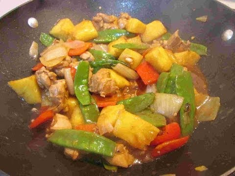 Chinese Chicken & Pineapple Stir Fry with Rice Recipe ~ Chinese Cooking