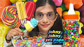 Learn Colors with M&M Candy Lollipops JOHNY JOHNY YES PAPA Nursery Rhymes