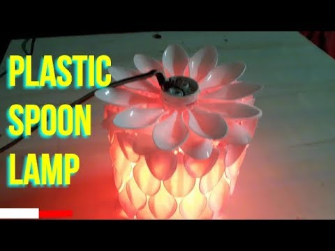 DIY PLASTIC SPOON LAMP | How to make DIY lamp made from plastic spoons