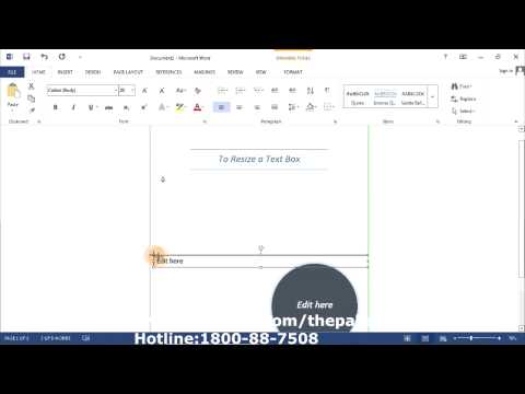 Microsoft Word 2013 How Resize Text Box