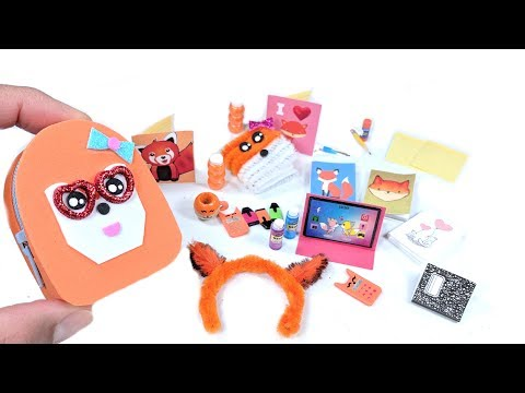 11 DIY Fox Miniatures - Backpack, Notebooks, School Supplies, Headband & More