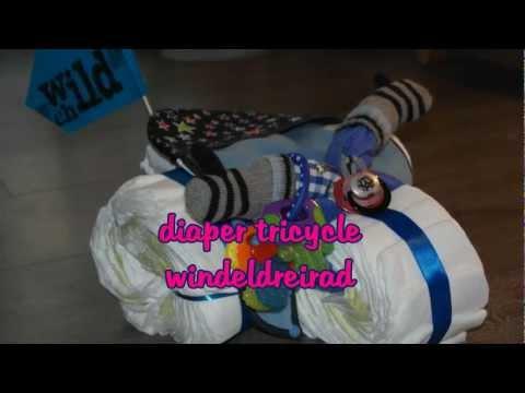 Tutorial diaper tricycle / Windeldreirad - DIY baby shower gifts