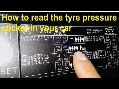 How to read the tyre pressure sticker in your car