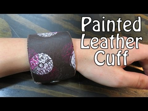 How to Make a Painted Leather Cuff with Craft Stamp - Bracelet Jewelry DIY Tutorial