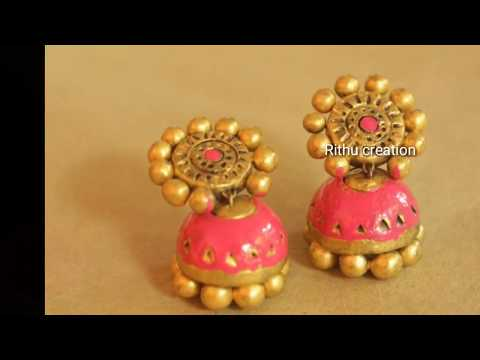 clay earrings jhumka/pink  terracotta jhumka making  and painting tutorials.
