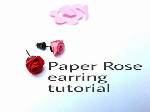 Easy way to make paper rose earrings