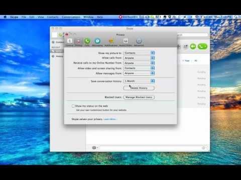 how to delete skype history mac