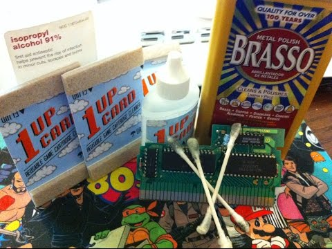 Cleaning NES Carts - 1UP Cards vs. Brasso vs. Rubbing Alcohol