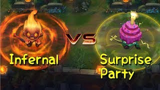 Infernal Amumu vs Surprise Party Amumu Skin Comparison (League of Legends)