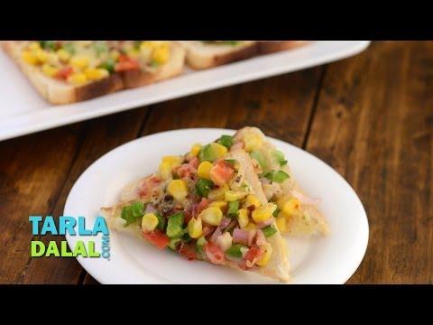 Garlicky Corn Tomato and Cheese Toast by Tarla Dalal