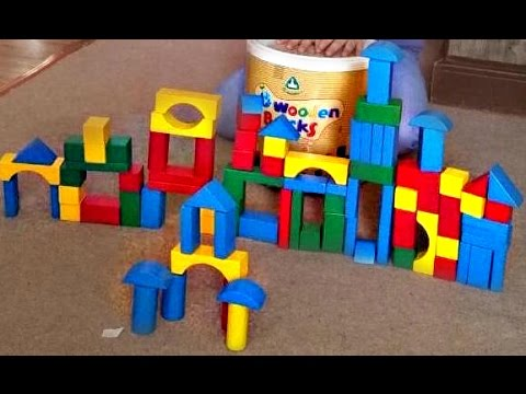 How to make a Castle with colour wooden Building Blocks Kids Having Fun