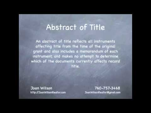 What are a Preliminary Title Report and an Abstract of Title?