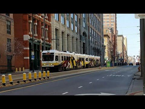 MTA MARYLAND:Light Rail Refurbished LRV #5036 & #5012@Baltimore Street Station