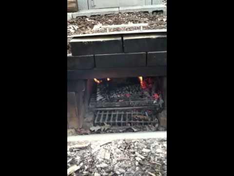Concrete block BBQ smokehouse