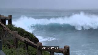Typhoon Fitow Extreme Eyewall And Huge Waves Stock Footage Screener HD 1920x1080 30p
