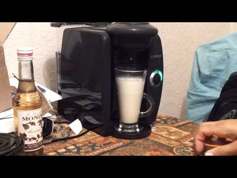 Making a cup of chai latte on my tassimo