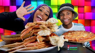 Seafood Boil Mukbang, Snow Crab Legs and Pizza with Darius