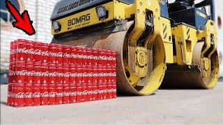 EXPERIMENT: ROAD ROLLER VS 100 Coca Cola Cans