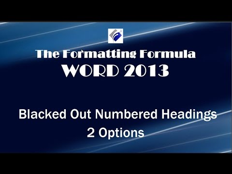 Word  2013   Black Out Numbered Headings   2 Options