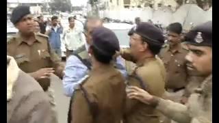 govind goyal congress mahamantri ke sath police ki jhadap