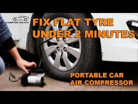 Flat Tyre fix with Portable Air Compressor in Urdu / Hindi