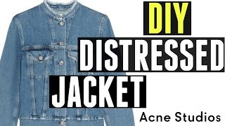 DIY Cropped Collar ( Distressed ) Jean Jacket with Patches | Aleks Gamzin