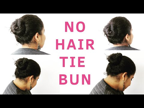 No Hair Tie Bun For Short Hair | Quick & Simple |  Hair Bun Tutorial