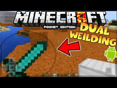 MCPE 1.1.5 DUALWEILDING - HOW TO DUAL WEILD IN MCPE 1.1.5 NO MODS - MINECRAFT PE DUAL WEILDING