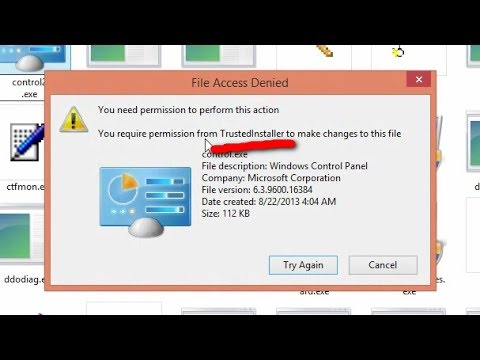 Rename file that needs permission from TrustedInstaller (Windows 8.1)