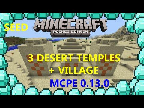 [MCPE 0.15.0] TRIPLE DESERT TEMPLE W/ DIAMONDSS AND VILLAGE W/ BLACKSMITH