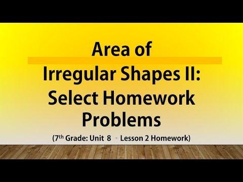 Area of Irregular/Composite Shapes II: Select Homework Problems (7th Grade Unit 8 Lesson 2 Homework)