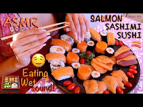 🍱 You're hungry? 😏 INTENSE ASMR 🍣 [ Salmon Sashimi Sushi, etc! ] 🍥 Eating Sound 🍙 NO Talking 🎧