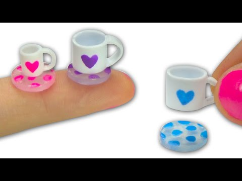 Miniature doll tea cups or mugs (can be filled) and glass coasters tutorial DIY - YolandaMeow♡