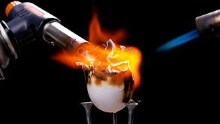 HOW TO COOK AN EGG WITH GAS TORCH