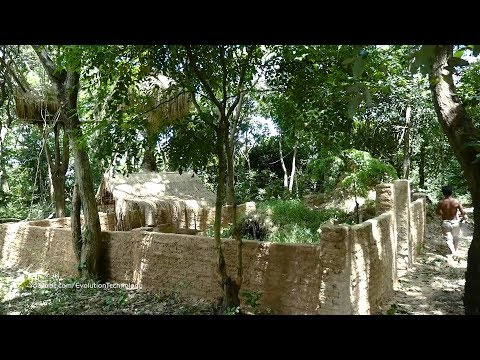 Primitive Technology, Upgrade wall of Mud huts - ep 11