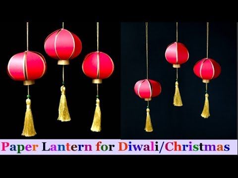 How To Make paper Lantern/akash kandil at Home | Diwali/Christmas Decorations Ideas- D.I.Y.