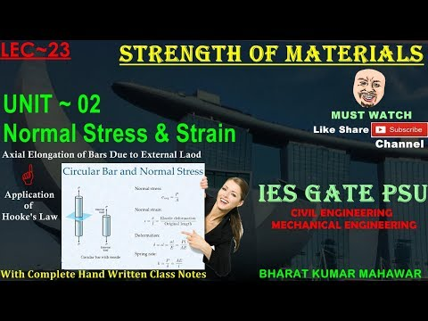 Strength of Materials~Lec 23~U2~Normal Stress & Strain(Elongation Due to External Load) by Bharat KM