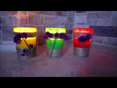 DIY How to make a candle reusing old glasses tutorial