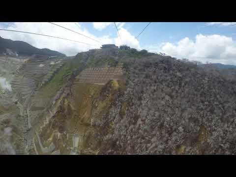Ropeway over active volcano in Japan!