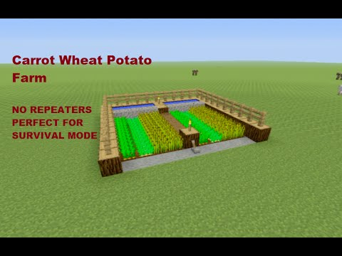 Minecraft Tutorial: Automatic Wheat, Carrot, Potato Farm for SURVIVAL MODE + NO REPEATERS