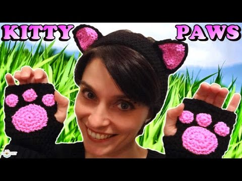 Crochet Cat Paw Fingerless Gloves  - KITTEN MITTENS!