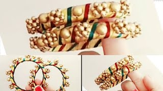 How To Make Antique Beaded Silk thread  Bangles||Bridal Side Bangles..!