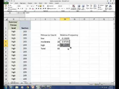 Constructing a Relative Frequency Table and Pie Chart in Excel